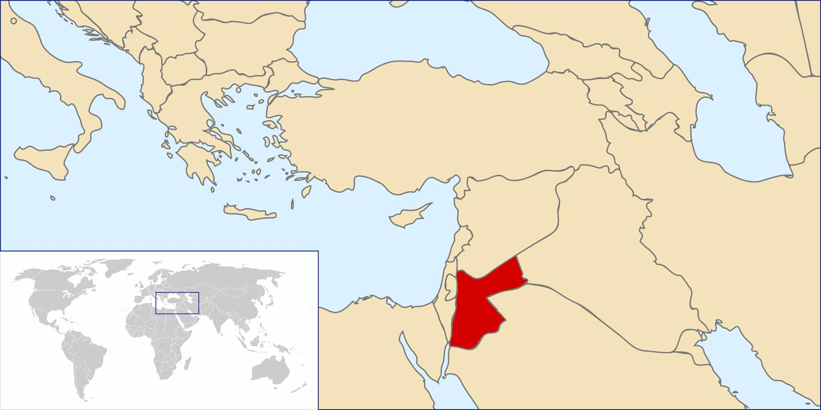 Jordan world map - Jordan in the world map (Western Asia - Asia)