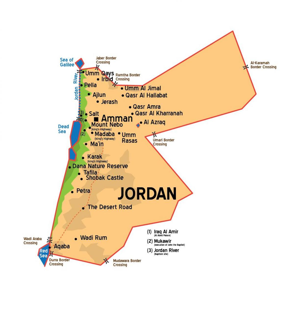 Jordan cities map