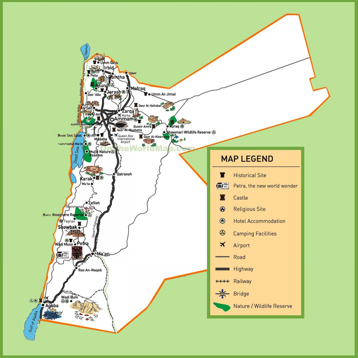 map of Jordan tourist sites
