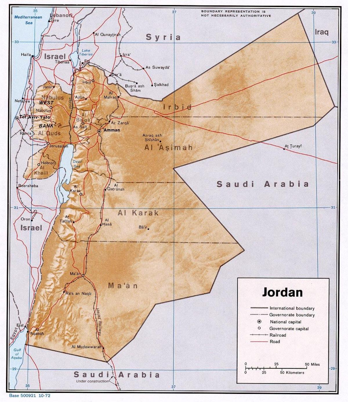 map showing Jordan
