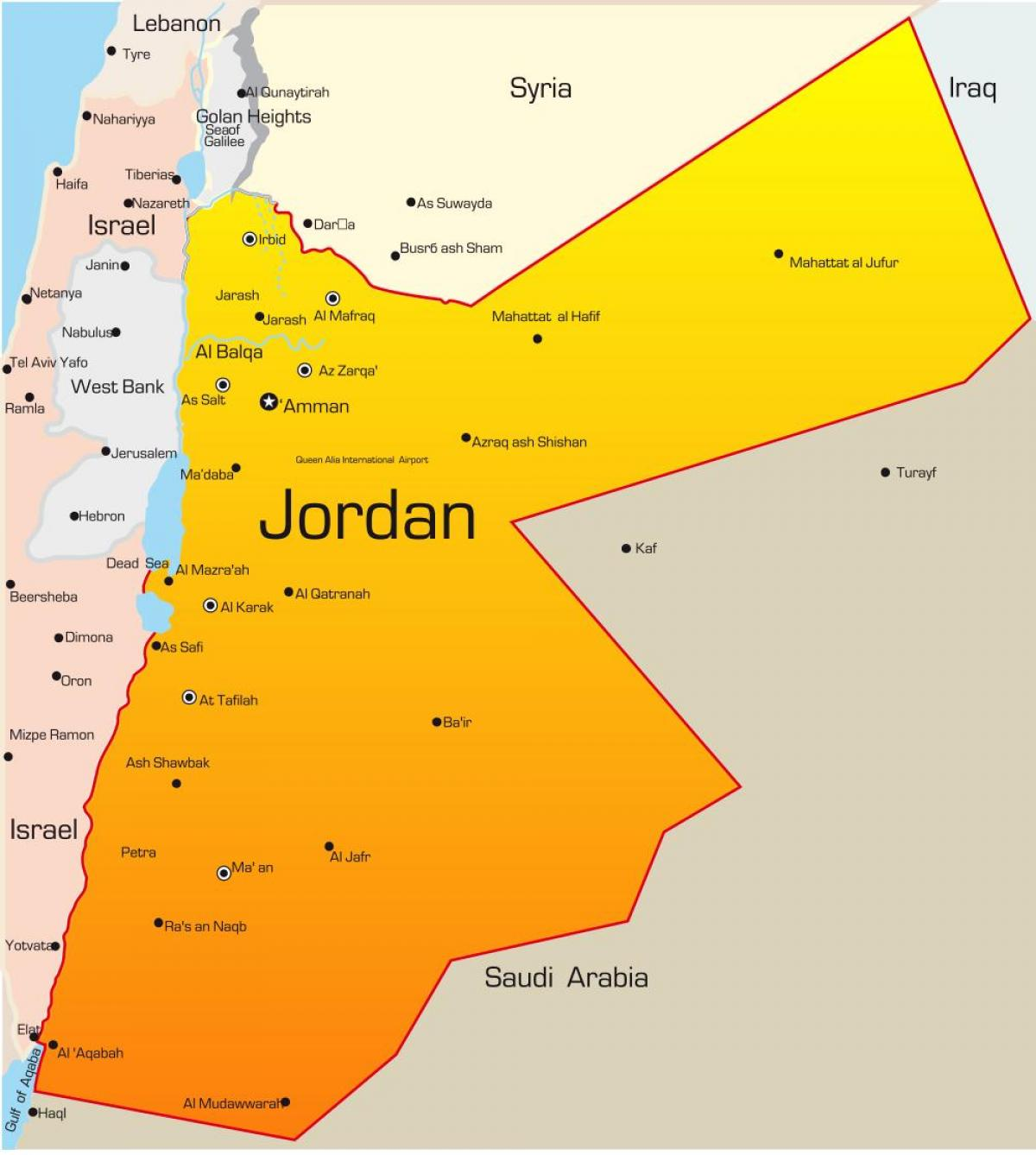 map of Jordan middle east