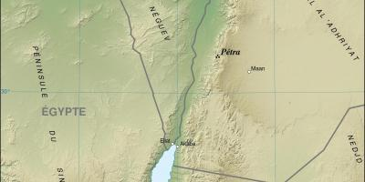 Map of Jordan showing petra